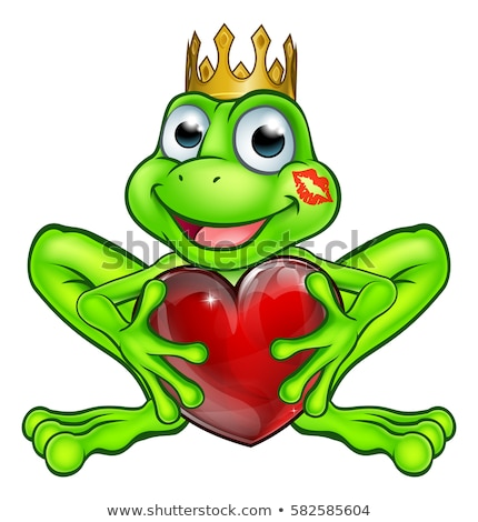 Smiling Princess Frog Cartoon Mascot Character With Crown Holding A Love Heart. Stock photo © hittoon