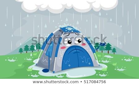 Maskot çadır üzücü yağmur örnek sağanak Stok fotoğraf © lenm