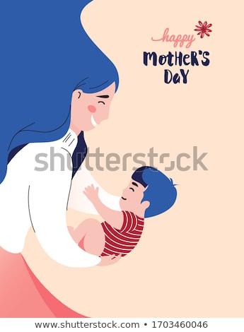 amamentação · ilustração · mãe · recém-nascido · bebê · menino - foto stock © robuart