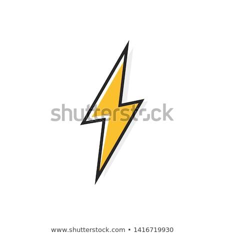 Icônes Thunder éclairage noir blanche résumé Photo stock © ratkom