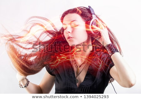 hot young brunette musiclover stock photo © lithian