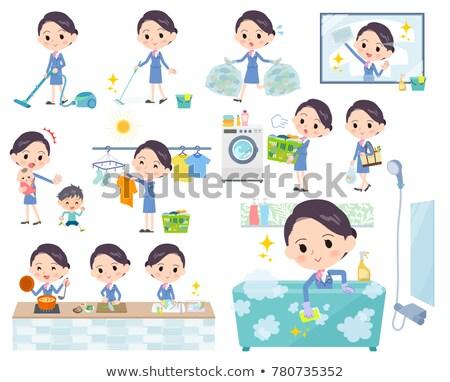 Cabine azul mulher internet compras jantar Foto stock © toyotoyo