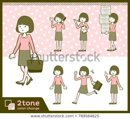 прямой волос розовый блузка женщины набор Сток-фото © toyotoyo