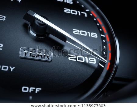 calendar 2019 in speedometer car illustration on white stock photo © m_pavlov