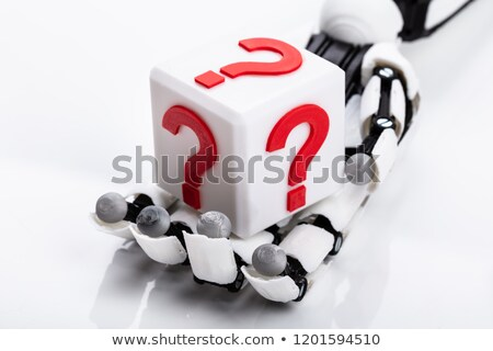 Robot Holding Cubic Block With Question Mark Sign Stock photo © AndreyPopov