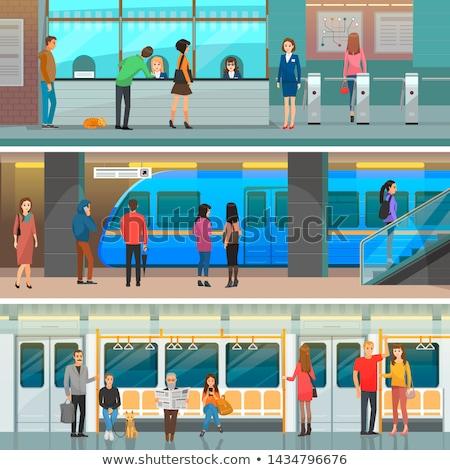Metró vagon modern állomás bejárat szett Stock fotó © robuart