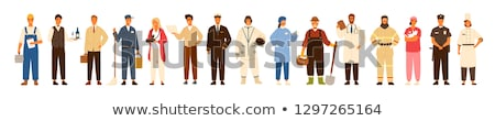 firefighter man in uniform vector illustration stock photo © robuart
