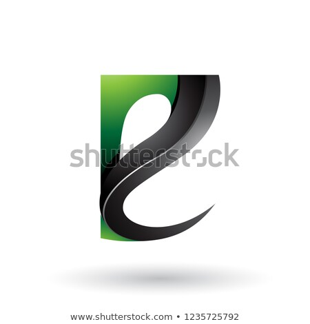 Green and Black Glossy Curvy Embossed Letter E Vector Illustrati Stock photo © cidepix