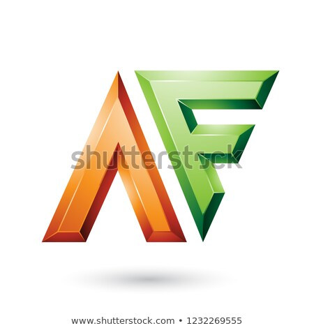 Orange and Green Glossy Dual Letters A Vector Illustration Stock photo © cidepix