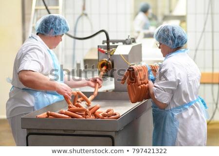 Wurst Produktion line Fleischer Fleisch Essen Stock foto © grafvision