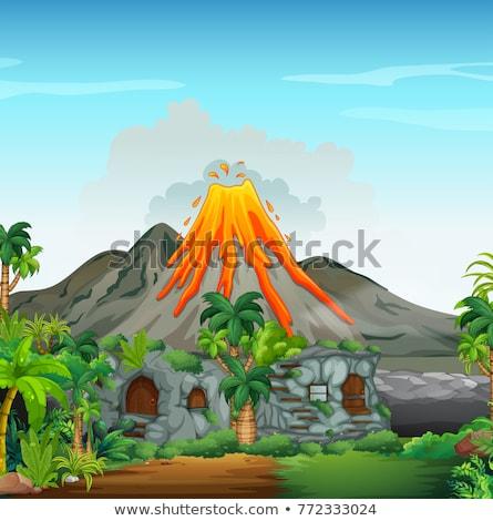 cena · vulcão · lava · ilustração · natureza · paisagem - foto stock © colematt