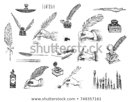 pluma · documento · boceto · icono · vector · aislado - foto stock © rastudio