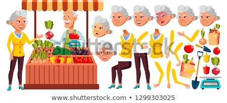 Asian Old Woman Vector. Senior Person Portrait. Elderly People. Aged. Animation Creation Set. Ecolog Stock photo © pikepicture