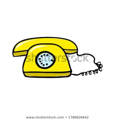 болван · телефон · икона · синий · пер · рисованной - Сток-фото © rastudio