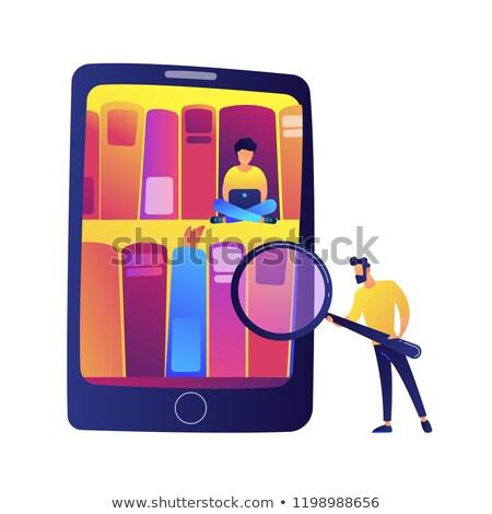 Tablet boekenkasten studenten digitale bibliotheek Stockfoto © RAStudio