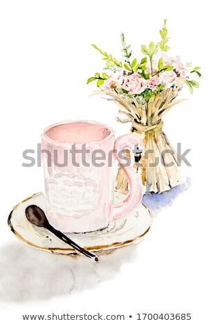 kávéscsésze · asztal · kézzel · rajzolt · vízfesték · reggeli · kávézó - stock fotó © bonnie_cocos