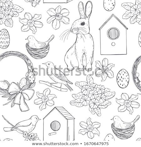 kicsi · aranyos · madár · ág · levelek · vektor - stock fotó © bonnie_cocos