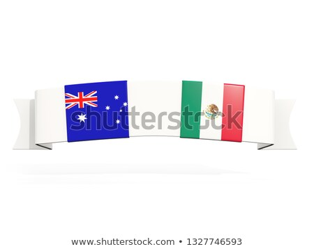 Banner dos cuadrados banderas Australia México Foto stock © MikhailMishchenko