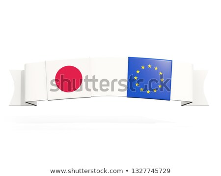 Banner with two square flags of Japan and European Union Stock photo © MikhailMishchenko