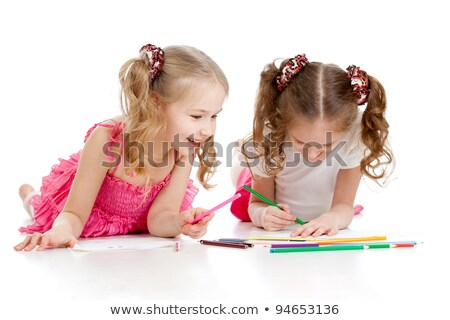 two kids coloring on the floor stock photo © ilona75