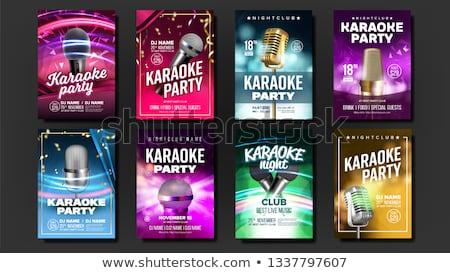 karaoke poster set vector mic design disco banner rock fun vocal sign media announcement star stock photo © pikepicture