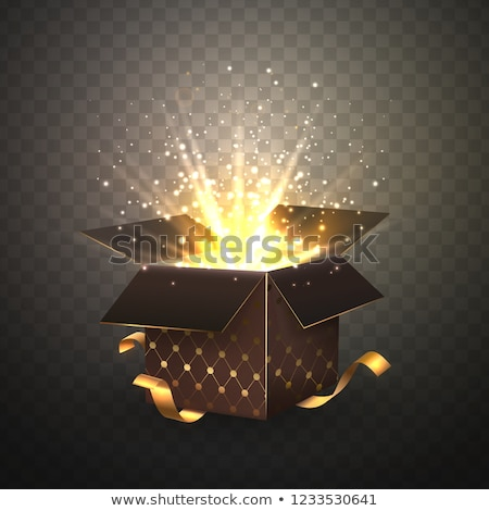 Open Black Gift Box and Confetti. Christmas and Valentine Background. Vector Illustration Stock photo © olehsvetiukha