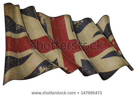 Old Paper Print - Waving Flag of England Stock photo © nazlisart