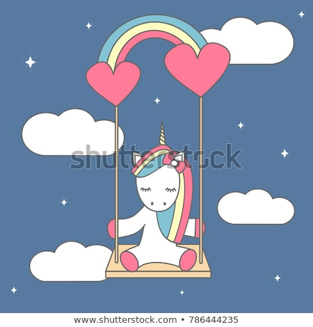 Cartoon unicorn swinging on a rainbow Stock photo © zsooofija