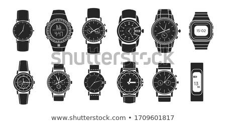 Elegante preto prata vetor relógio cinco Foto stock © wenani