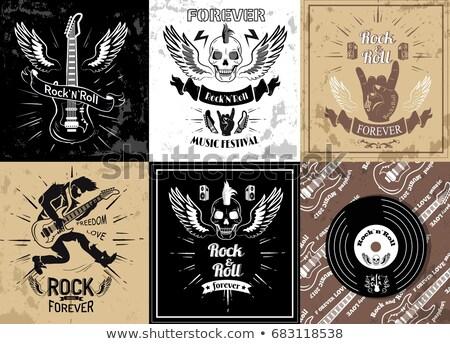 rock · stempel · zwarte · grunge · elektrische · gitaar - stockfoto © robuart