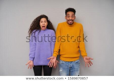 Foto stock: Retrato · confundirse · suéter · pie · aislado
