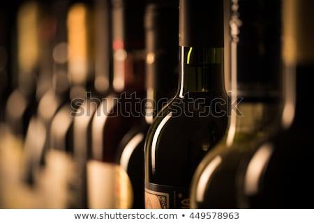 Vintage wijnfles oude houten tafel top Stockfoto © karandaev