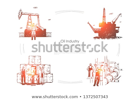 drawn industrial equipment oil pump rig set vector stock photo © pikepicture
