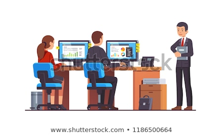 character supervisor control work employees vector stock photo © pikepicture