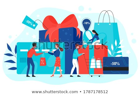 Girl Coupon Groceries Illustration Stock photo © lenm