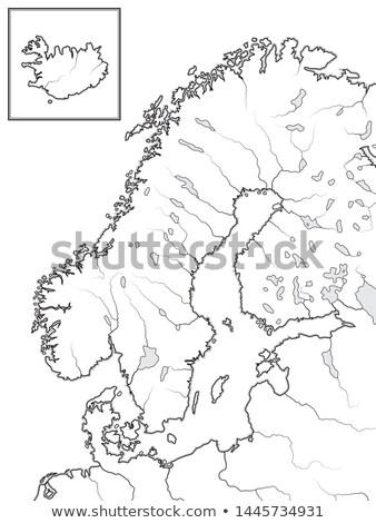 Map of The SCANDINAVIAN Lands: Scandinavia, Sweden, Norway, Finland, Denmark & Iceland. Chart. Stock photo © Glasaigh