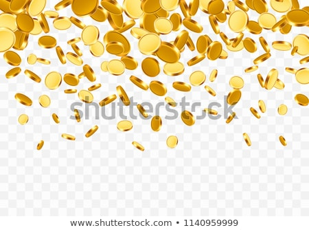 Falling from the top a lot of Euro gold coins on transparent background. Vector illustration Stock photo © olehsvetiukha