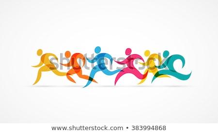 Foto stock: Running Marathon Colorful People Icons And Symbols