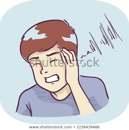 Teen Boy Symptom Hear Piercing Sound Illustration Stock photo © lenm