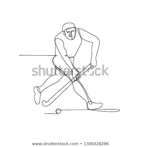 Hockey speler lijn illustratie hockey stick Stockfoto © patrimonio