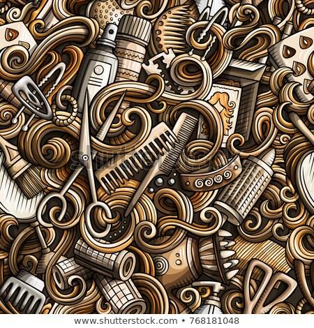 Stockfoto: Cartoon · kapsalon · symbolen · objecten · communie