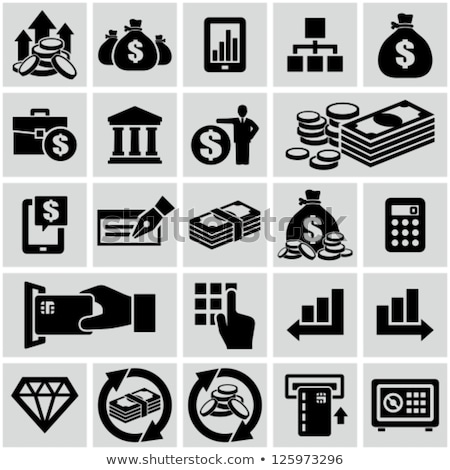 Financiële gebouw dollar munt vector icon Stockfoto © pikepicture