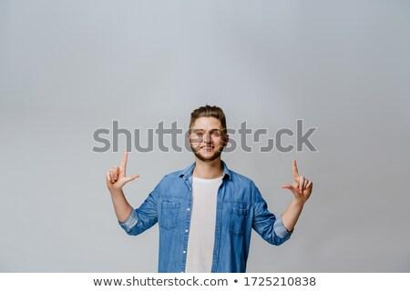удивленный бизнесмен указывая пальца текста Сток-фото © lichtmeister