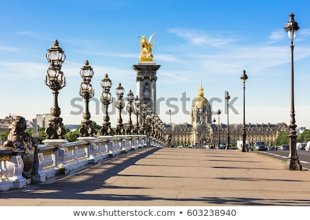 Stok fotoğraf: Köprü · Paris · Fransa · işaret · nehir · gün · batımı