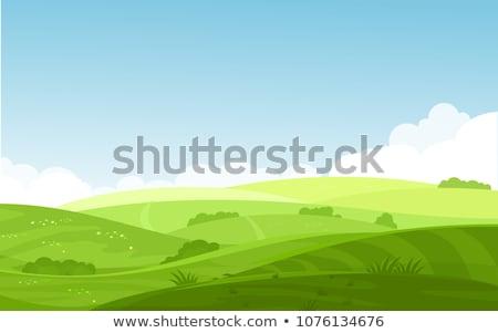 Foto stock: Hills · montanhas · paisagem · casa · fazenda · estilo