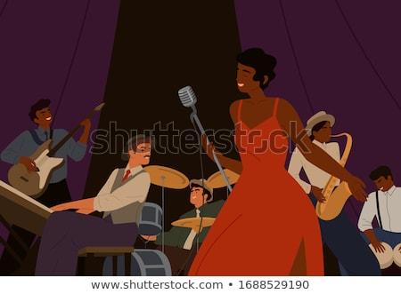Zanger vrouw pianist concert illustratie spotlight Stockfoto © tiKkraf69