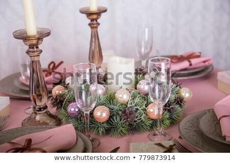 Christmas table setting and pink decor Stock photo © furmanphoto