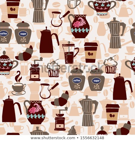 koffie · lijn · iconen · bruin · voorraad · vector - stockfoto © margolana