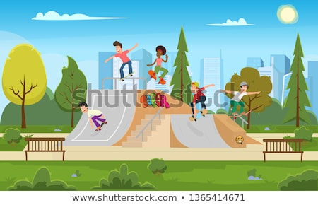Girl in City Park with Skateboard, Active Hobby Stock photo © robuart