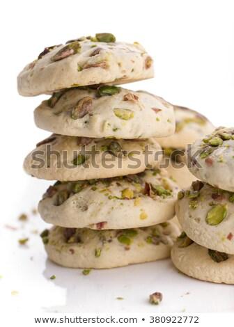 Pisztácia kekszek köteg sötét étel reggeli Stock fotó © boggy